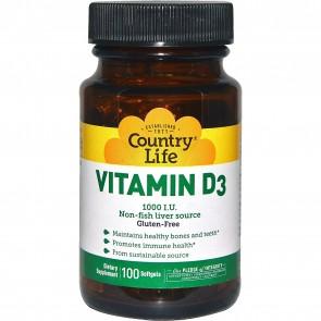 Country Life Vitamin D3 1000 I.u. 100 Softgels