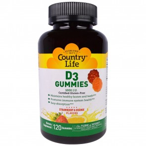 Country Life D3 Gummies 1000 I.U. Strawberry and Orange Flavor 120 Gummies