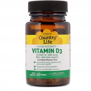 Country Life Vitamin D3 10,000 I.U. (250 mcg) 60 Softgels