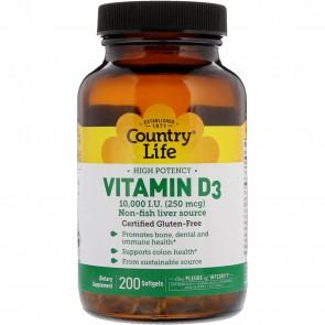 Country Life Vitamin D3 10,000 I.U. (250 mcg) 200 Softgels