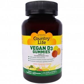 Country Life Vegan D3 Gummies 1000 I.U. Lemon, Strawberry, & Orange Flavor 60 Gummies