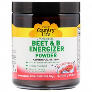 Country Life Beet and B Energizer Powder Watermelon Flavor 30 Servings 3.5 oz