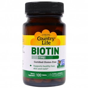 Country Life- Biotin High Potency, Glutten-Free- 1000 mcg- 100 Tablets