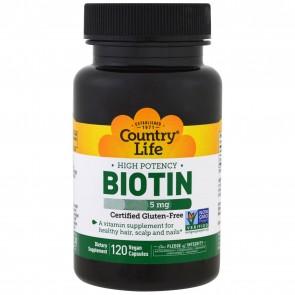 Country Life Biotin 5 mg 120 Veg Capsules