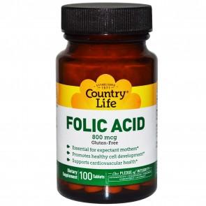Country Life Gluten Free Folic Acid 800 mcg 100 Tablets
