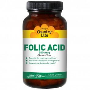 Country Life Folic Acid 800 mcg 250 Tablets