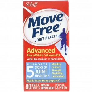 Schiff Move Free Advanced MSM + Vitamin D 80 Tablets