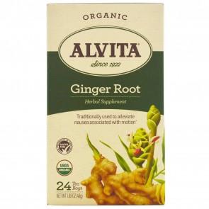 Alvita Teas Organic Ginger Root Tea Caffeine Free 24 Tea Bags 1.69 oz (48 g)