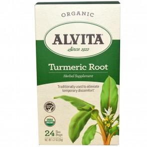 Alvita Teas Organic Turmeric Root Caffeine Free 24 Tea Bags 1.27oz (36g)