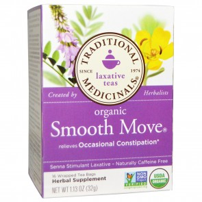 Traditional Medicinals, Organic Smooth Move, Senna Stimulant Laxative, Caffeine Free, 16 Wrapped Tea Bags, 1.13 oz (32 g)
