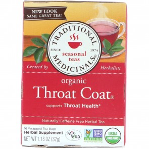 Traditional Medicinals, Seasonal Teas, Organic Throat Coat, Caffeine Free, 16 Wrapped Tea Bags, 1.13 oz (32 g)