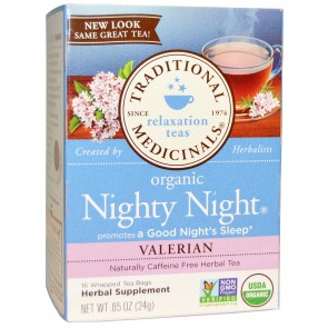 Traditional Medicinals Organic Nighty Night Valerian Tea, 16 Tea Bags