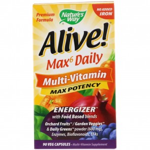 Nature's Way Alive Max 6 Daily Multivitamin 90 Vegetarian Capsules
