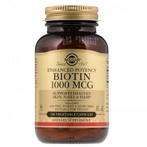 Solgar Biotin Energy Support 1000 mg 250 Vegetarian Capsules