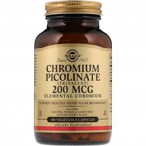 Solgar Chromium Picolinate 200 Mcg 180 Vegetable Capsules