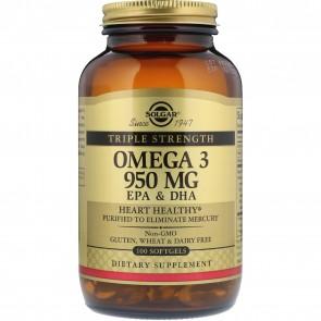 Solgar, Triple Stength Omega-3, 950 mg, EPA & DHA, 100 Softgels