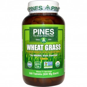Pines International Organic Wheat Grass 500 mg 500 Tablets