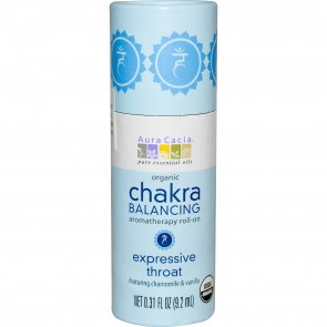 Aura Cacia Organic Chakra Balancing Aromatherapy Roll-On Expressive Throat 0.31 fl oz (9.2 ml)