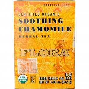 Flora Inc Certified Organic Herbal Tea Soothing Chamomile Caffeine Free 16 Tea Bags 0.68 oz (19.2 g)