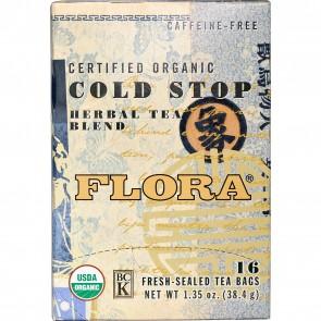 Flora Inc Certified Organic Cold Stop Tea Caffeine-Free 16 Tea Bags 1.35 oz (38.4 g)