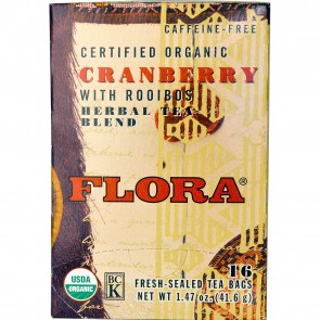 Flora Inc Certified Organic Herbal Tea Blend Cranberry with Rooibos Caffeine Free 16 Tea Bags 1.47 oz (41.6 g)