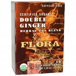 Flora Inc Certified Organic Double Ginger Herbal Tea Blend Caffeine-Free 16 Fresh-Sealed Tea Bags 1.24 oz (35.2 g)