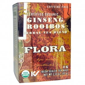 Flora Inc Herbal Tea Blend Certified Organic Ginseng Rooibos Caffeine Free 16 Tea Bags 1.13 oz (32 g)