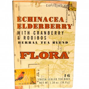 Flora Inc Herbal Tea Blend Certified Organic Echinacea Elderberry Caffeine Free 16 Tea Bags 1.30 oz (36.8 g)