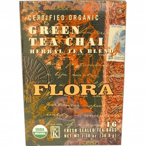 Flora Inc Certified Organic Green Tea Chai Herbal Tea Blend 16 Tea Bags 1.30 oz (36.8 g)
