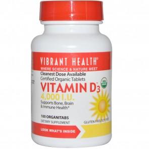 Vibrant Health Vitamin D3 4,000 I.U. 100 OrganiTabs