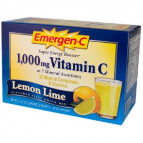 Alacer Emergen-C 1,000 mg Vitamin C Fizzy Drink Mix Lemon-Lime Flavored 30 Packets