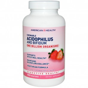 American Health Acidophilus Fruit Chews Strawberry 100 Wafers