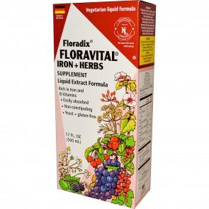 Flora Floradix Floravital Iron + Herbs Supplement Liquid 17 fl oz