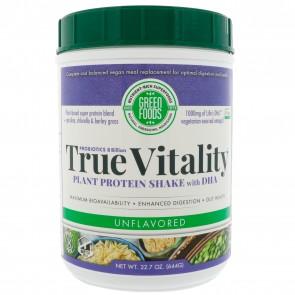 Green Foods True Vitality Plant Protein Shake with DHA Unflavored 25.2 oz