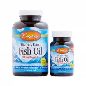 Carlson The Very Finest Fish Oil Natural Lemon Flavored 120 plus 30 Softgels Free
