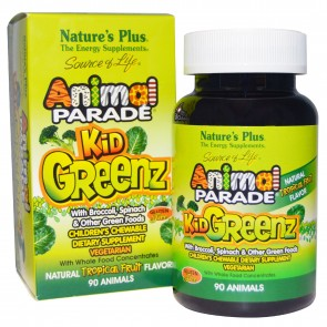 Nature's Plus Animal Parade KidGreenz Tropical Fruit Flavor 90 Chewable Tablets