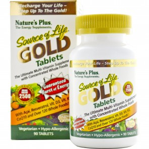 Nature's Plus Source Of Life Gold Tablets Ultimate Multi-Vitamin with Concentrated Whole Foods - 90 Tablets