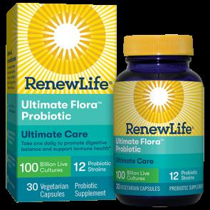 Renew Life Extra Care Ultimate Flora Probiotic 100 Billion 30 Vegetable Capsules
