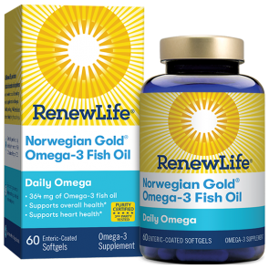 Renew Life Norwegian Gold Omega-3 Fish Oil Daily Omega 60 Enteric-Coated Softgels