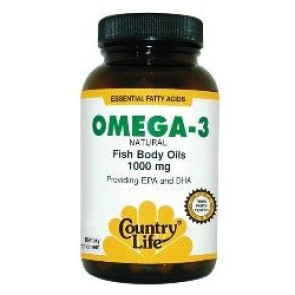 OMEGA-3 1000 mg from Country Life Fish Body Oils,EPA,DHA - 100sg