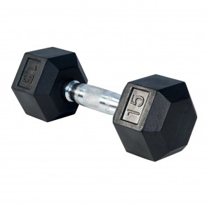 G Fitness Rubber Encased Hex Dumbbell 15 lb