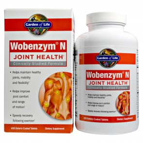 Garden of Life Wobenzym N Healthy Inflammation and Joint Support 400 Enteric Coated Tablets