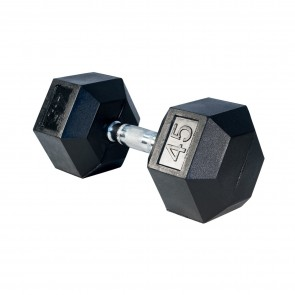 G Fitness Rubber Encased Hex Dumbbell 45 lb