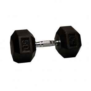 G Fitness Rubber Encased Hex Dumbbell 50 lb