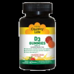 Country Life D3 Gummies 1000 I.U. Strawberry and Orange Flavor 60 Gummies