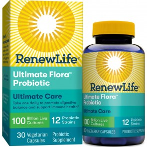 Renew Life Extra Care Ultimate Flora Probiotic 100 Billion 30 Vegetable Capsules