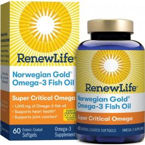 Renew Life Norwegian Gold Omega-3 Fish Oil Super Critical Omega 1045 mg 60 Enteric-Coated Softgels