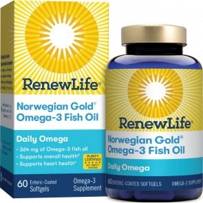 Renew Life Norwegian Gold Omega-3 Fish Oil Daily Omega 60 Enteric-Coated Softgels