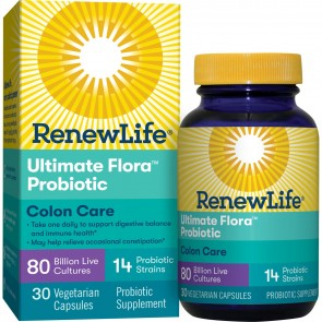 Renew Life Colon Care Ultimate Flora Probiotic 80 Billion 30 Vegetable Capsules