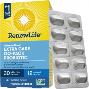 Renew Life Extra Care Ultimate Flora Probiotic 30 Billion Go Pack 30 Vegetable Capsules